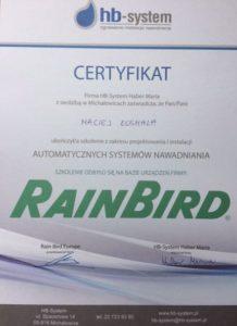 Rain Bird certyfikat